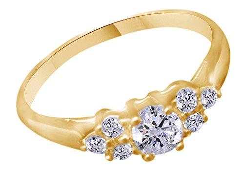 0.34carati rotondo bianco naturale diamante fidanzamento fede nuziale in oro 10ct e 10 ct oro giallo, 70 (22.3), colore: yellow, cod. mno-uk-m-cmr22154-yg-z