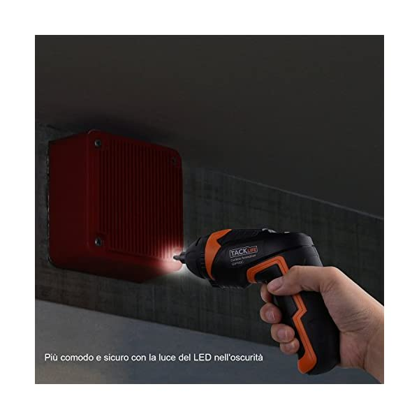 Atornillador Eléctrico Inalámbrico Tacklife SDP50DC, Avanzado Destornillador Eléctrico (Máximo Par 4 Nm, Taladro sin Cable, LUZ LED, 30 Brocas y 1 Biela, Bloqueo de Seguridad)