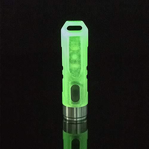 RovyVon A5 Nichia LED-Taschenlampe, 350 Lumen, fluoreszierende grüne Schale, mit Leselampe und roter Signalleuchte für die EDC-Utility-Taschenlampe am Schlüsselbund, Schnellladung -