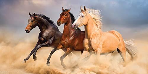UniqueTowel Badetuch Badehandtuch Handtuch - Motiv galoppierende Pferde in der Wüste - groß 70x140...
