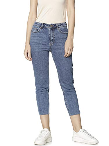 ONLY Damen Straight Jeans onlEMILY HW ST RAW JNS DB MAE 0005 NOOS, Blau (Dark Blue Denim), W29/L32 (Herstellergröße: 29) Dark Blue Denim
