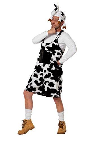 Karneval Klamotten Kuh-Kostüm Herren aus Plüsch Kuh-Latzhose kurz Herren Karneval Tier-Kostüm Herren-Kostüm Größe 54