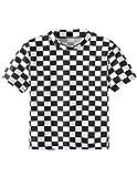 T-Shirt Damen Sommer, Teenager Mädchen Mode Plaid Crop Top Bauchfrei Shirt Bluse Karierte Party Oberteil Sport Kurzes Tank Top Hemd Frauen Sommer Kurzarm T Shirt Tops Pullover Sale (S, A-Schwarz)