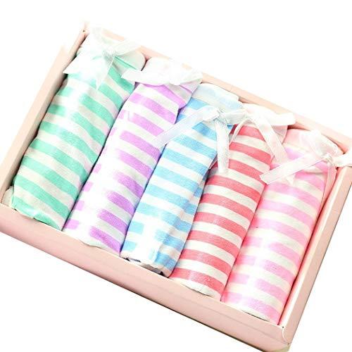 Gestreifte Damen-panty (cokil 5pcs / Box-Frauen-Mittlere Taille-Feste gestreifte Panty Baumwollpanty Panties)