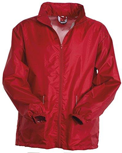 K-way Uomo Richiudibile con Cappuccio a Scomparsa Polsi con Elastico e Tasche Zip con Profilo Reflex Payper Wind Rosso