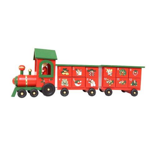 Premier Train de l'Avent en Bois avec Deux Wagons de Grande qualité-Noël Jouet/décoration