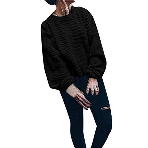 Preisvergleich Produktbild Sweater Damen Pulli Sweatshirts Loose Langarm T-Shirt Einfarbig Strickjacken Partchwork Outwear für draußen von ABsoar
