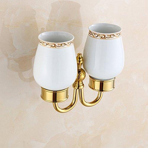 LY-toothbrush cup holder Jade Basis Kupfer Doppel Becherhalter Gold European Pinsel Zahn Becherhalter Paar Doppel Tasse Set Badezimmer Anhänger Becher - Zahn Cup Holder