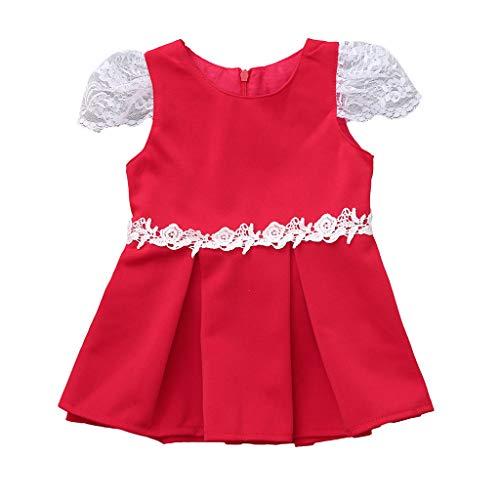 DIASTR Sommer Kleinkind Baby Mädchen Bow Kleid Prinzessin Kleider Fliegenhülse Solide Liebe Spitze Kleid A-Linie Rock Partykleid (6m-4t) -