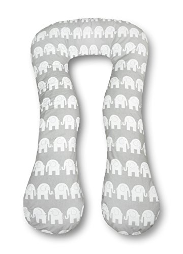 Amilian Schwangerschaftskissen Lagerungskissen Relaxkissen ink.Bezug universell groß Elefant grau TYP A