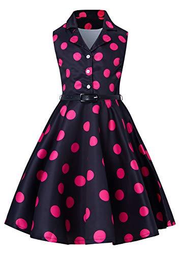 RAISEVERN-Sommer-Party Kleider a-line Swing Kleid Plissee ärmellose Gürtel Kleider für Mädchen 10-11 t Polka Dot