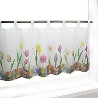 Visillo TULIPÁN para cocina, baño y habitación infantil / Cortina con motivo flores / 45x120 cm / Cortina de bar moderna y transparente