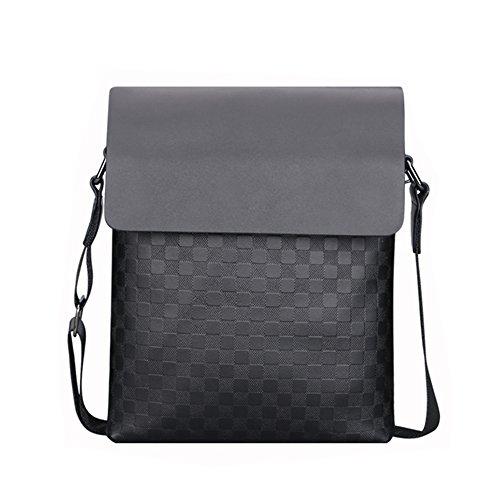 Dxlta Männer High Grade Schultertasche Diagonal Paket Mode Gitter Muster Business Package High Grade Pu Männlichen Tasche Grau