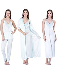 21b7a6af87 Claura Women s Satin Night Dress 1 Nighty 1 Robe 1 Top 1 Pyjama (Free Size