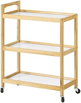 SoBuy® Carro de servicio 3 estantes, Estanteria para nichos, Trolley de cocina, Estanterias de baño, FKW34-WN,ES