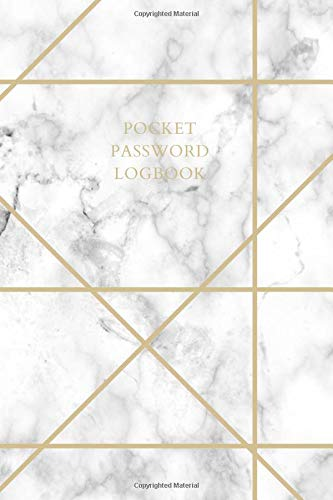 Pocket Password Logbook: Pocket Size Small Alphabetized Internet Password Logbook White Marble with Gold Geometric Lines