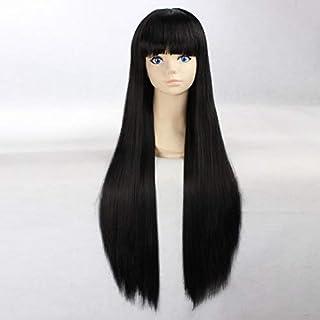 HOOLAZA Black Extra Long Straight Wig Kurotsuchi Nemu Inuyasha Sango Kikyou Akemi Homura Saten Ruiko Himegami Aisa Lucifer Monogatari Series Araragi Karen for the Halloween Party Cosplay Wigs
