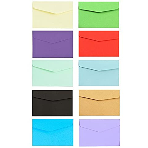 100Pcs Mini Gift Card Envelopes-Perfect Sized for Gift Cards, Wedding or Birthday Party, Multicolor