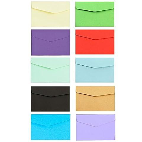 100Mini envelopes-perfect für Geschenk Karten, Hochzeit oder Geburtstag, multicolor