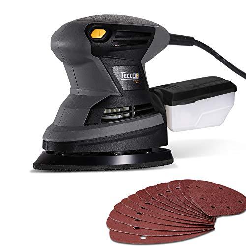 Levigatrice Mouse, TECCPO Professional 200W Levigatrice Elettrica, 15500 OPM, 12 pezzi di Carta Vetrata, con Contenitore per la Polvere Riutilizzabile, 1.5mm di Diametro Orbitale - TAMS23P