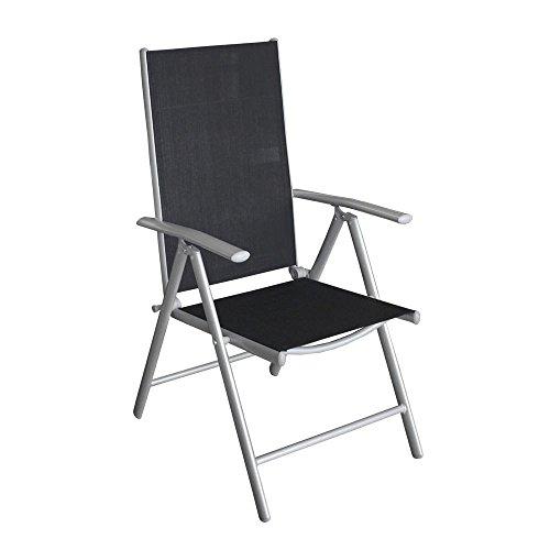 5tlg. Terrassenmöbel Set Sitzgruppe 4x Hochlehner Klappstuhl pulverbeschichtet Textilenbespannung + Gartentisch Aluminium Polywood / Non Wood Schwarz 150x90cm Gartenmöbel