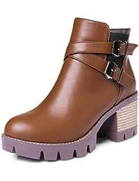 Botas de Mujer Martin, Botas de Martin, con tacón Alto y tacón Alto, Botas Cortas, marrón, 38