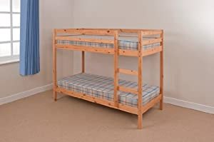3ft Single Wooden White Bunk Bed Zara + 2 Mattresses