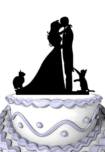 Mei Jia Fei Kissing Couple mit zwei Katzen Silhouette Wedding Cake Topper