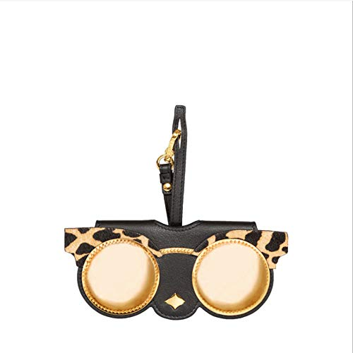 QYS Leder JEDER Absatz Sonnenbrillen-Box Soft Bag Sonnenbrillen Box Klappspiegel Clip Tasche hängen Ornamente,Leopard