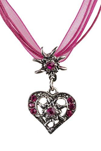 Trachtenkette elegantes Herz mit Strass und Edelweiss in vielen Farben - Anhänger Trachtenschmuck Kette für Dirndl und Lederhose Damen (Fuchsia)