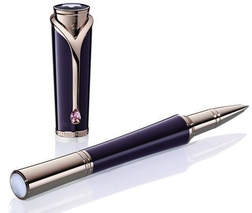 Rollerball pen, mother-of-pearl cabochon, Royal purple precious resin cap & barrel, Champagne-tone gold-plated accents, Made in Germany