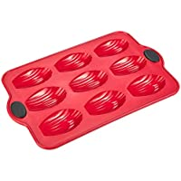 Levivo 331800000056 Moule silicone pour 9 madeleines, 198 x 30 mm, rouge, 308 mm