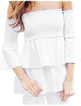 Magiyard Mujeres Hombro Top hoja de loto blusa de las mangas tapas ocasionales de la camiseta