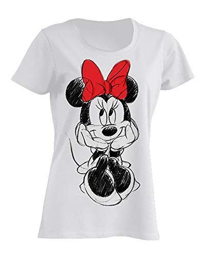Disney Minnie Mouse T-Shirt Red Bow, 100% Baumwolle S M L, Weiß, S