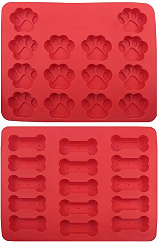 KKMore 2-pack Food Grade Large Mats Trays, Puppy Pets Dog Paws & Bones Silicone Baking Moulds, Bake Dog Treats For Pets, Kids, Dog-lovers, Kitchen Tips