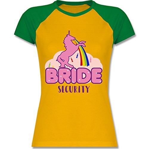JGA Junggesellinnenabschied - JGA Bride Security Einhorn - zweifarbiges Baseballshirt / Raglan T-Shirt für Damen Gelb/Grün