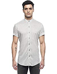 0450083c869 MODA HOMBRE Menswear Grey and White Striped Shirt with Band Collars and  Turned Up Half Sleeves