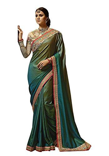 Kjp Villa Women\'s Barfi Silk Green Free Size Embroidery Saree With Blouse Pics sakshi-1148