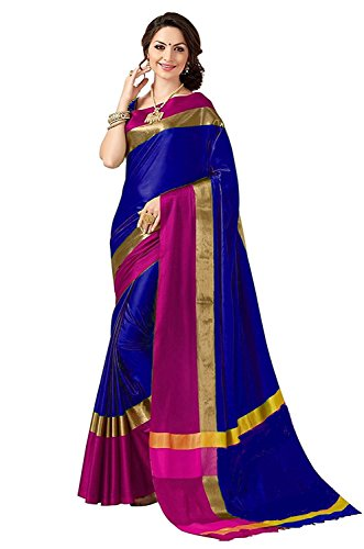 Perfectblue Women's cotton Silk Saree With Blouse Piece (GreenpinkVisva_Green) (blue)