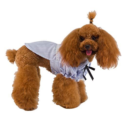 YWLINK Süß Prinzessin Elegant Streifen Bow Shirt Kleid Haustier Hund Tops Spitze Patchwork Mode KostüMe Haustier Kleidung(Blau,S)