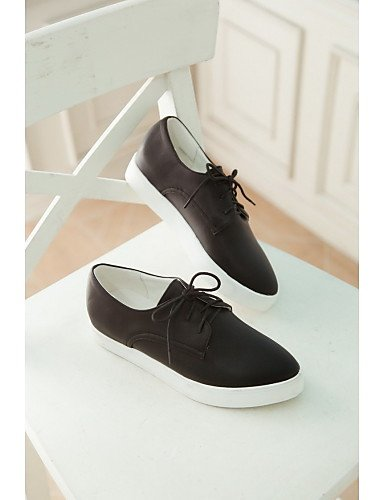 ZQ hug Scarpe Donna - Stringate - Tempo libero / Casual / Sportivo / Scarpe comode - A punta - Piatto - Finta pelle - Nero / Bianco , white-us10.5 / eu42 / uk8.5 / cn43 , white-us10.5 / eu42 / uk8.5 / black-us8.5 / eu39 / uk6.5 / cn40