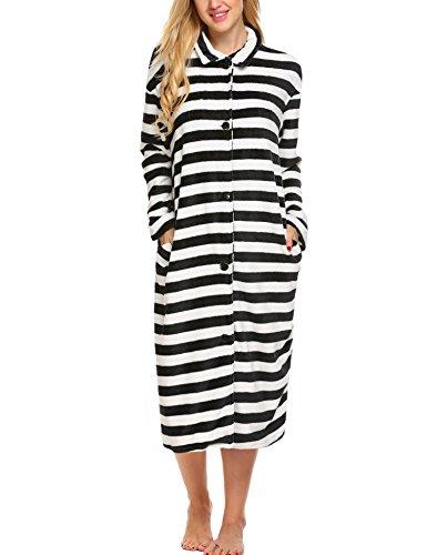 nachthemd langarm flanell shirt streifen langer Große Größen nachtwäsche bademantel locker (Streifen-damen-flanell)