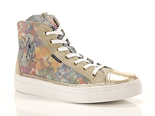 US POLO, Donna, Heidi1 Flower, Pelle, Sneakers Alte, Marrone, 39