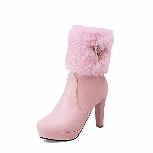 VogueZone009 Donna Bassa Altezza Cerniera Tacco Alto Punta Tonda Stivali con Metallo Rosa