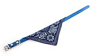 Bella Chien Bandana Foulard avec collier en cuir (Large (16 pouces), Bleu)