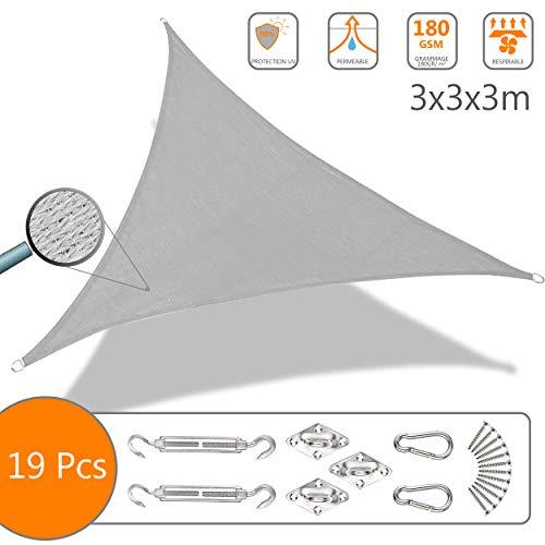 Voile d'ombrage Triangle avec Le Kit de Fixation | Matière résistante aéré 100% Nouveau HDPE-180g/m2 | Bloque 90% Rayons UV |...