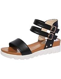 Sandalias mujer, ❤️ Manadlian Moda Sandalias simples de mujer Sandalias planas de cuero Zapatos de mujeres (CN:37, Negro)