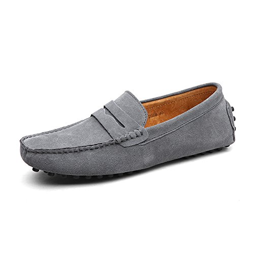 DUORO Herren Klassische Weiche Mokassin Echtes Leder Schuhe Loafers Wohnungen Fahren Halbschuhe (45 EU, Grau)