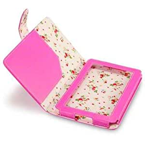 Terrapin PU Leather Folio Case/Cover/Pouch/Holster for Amazon Kindle Fire 7 inch Tablet - Hot Pink with Floral Interior
