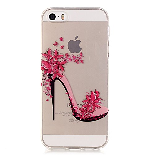 iPhone 5S Hülle Case,iPhone SE Hülle Case,Gift_Source [Crystal Clear] Fashion Colorful Silicone Protective Hülle Case Premium Flexible Transparent Soft TPU Slim Hülle Case Cover für iPhone SE/5S/5 [Pl E01-04-High-heeled shoes